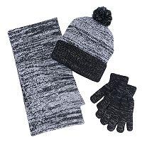 Girls 4-16 Berkshire 3-pc. Marled Infinity Scarf, Hat & Gloves Set