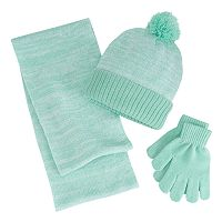 Girls 4-16 Berkshire 3-pc. Marled Infinity Scarf, Hat & Gloves Set