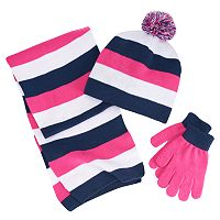 Girls 4-16 Berkshire 3-pc. Striped Scarf, Hat & Gloves Set