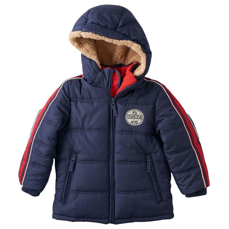 Boys 4-7 OshKosh B'gosh Striped Hooded Heavyweight Puffer Jacket, Boy's, Size: 5-6, Blue (Navy)