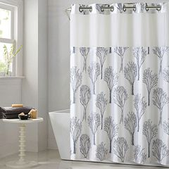 Hookless Modern Tree Shower Curtain with Liner by