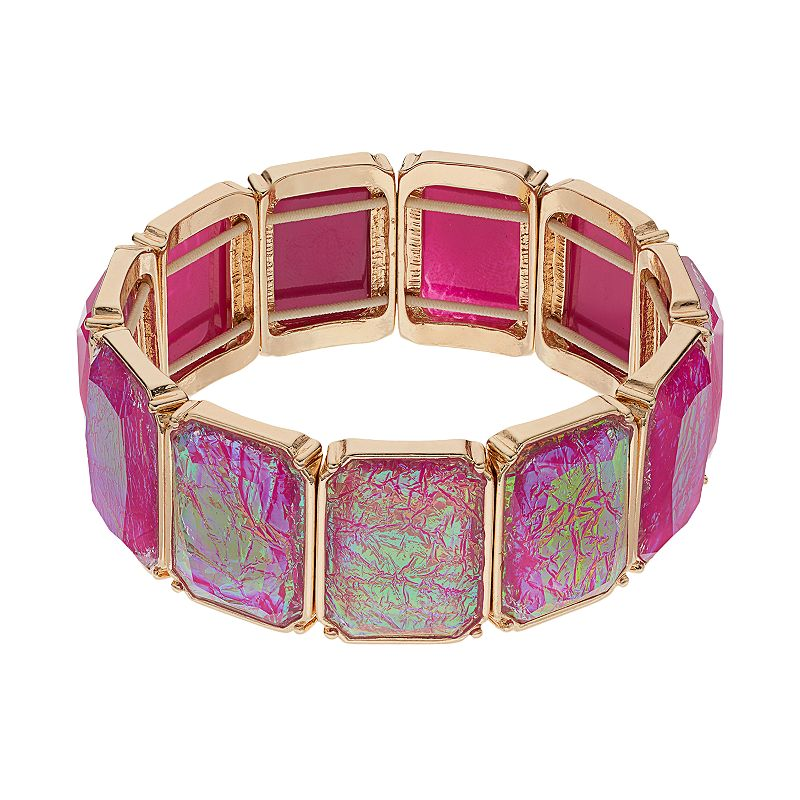 Pink Rectangle Stretch Bracelet