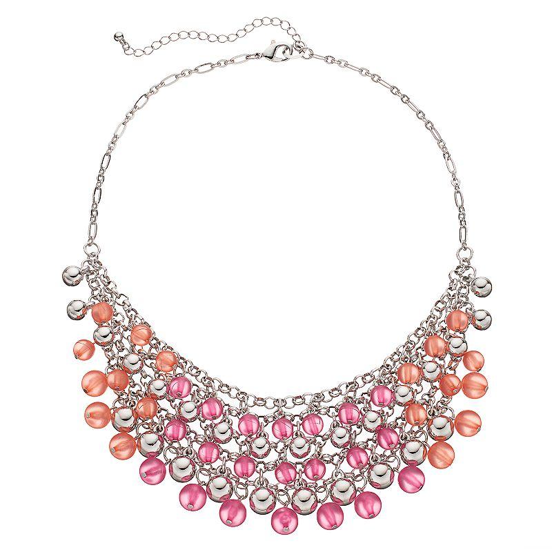 Magenta & Pink Beaded Statement Necklace