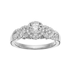 Simply Vera Vera Wang 14k White Gold 3/4 Carat T.W. Diamond Halo Engagement Ring by