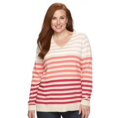 Plus Size Croft & Barrow® Essential Striped V-Neck Sweater