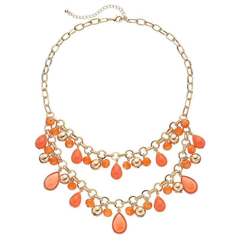 Orange Teardrop Beaded Swag Necklace