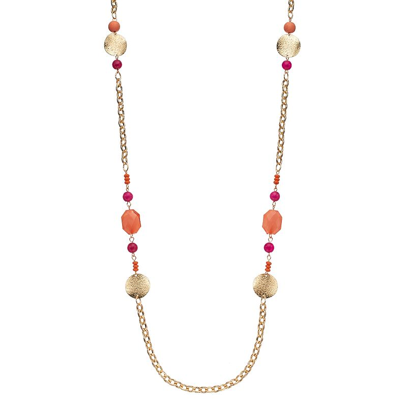 Long Pink Beaded Disc Station Necklace