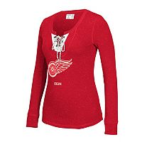 Women's CCM Detroit Red Wings Lace-Up Henley Tee
