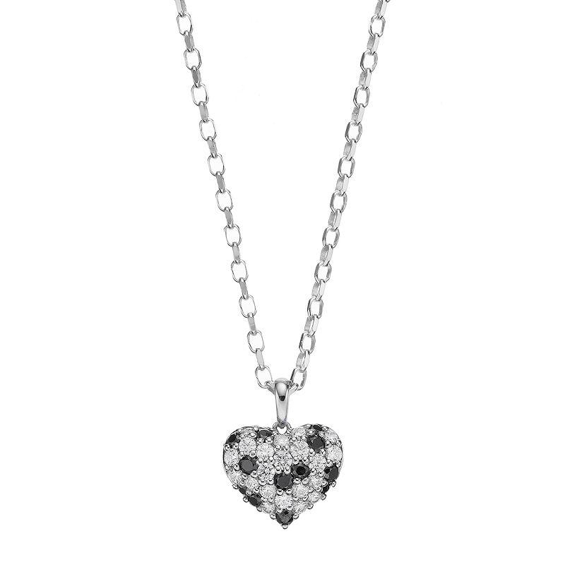 Lotopia Black & White Cubic Zirconia Sterling Silver Heart Pendant Necklace