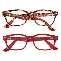 eyeSQUARE 2-Pr. Square Reading Glasses - Red, Tortoise