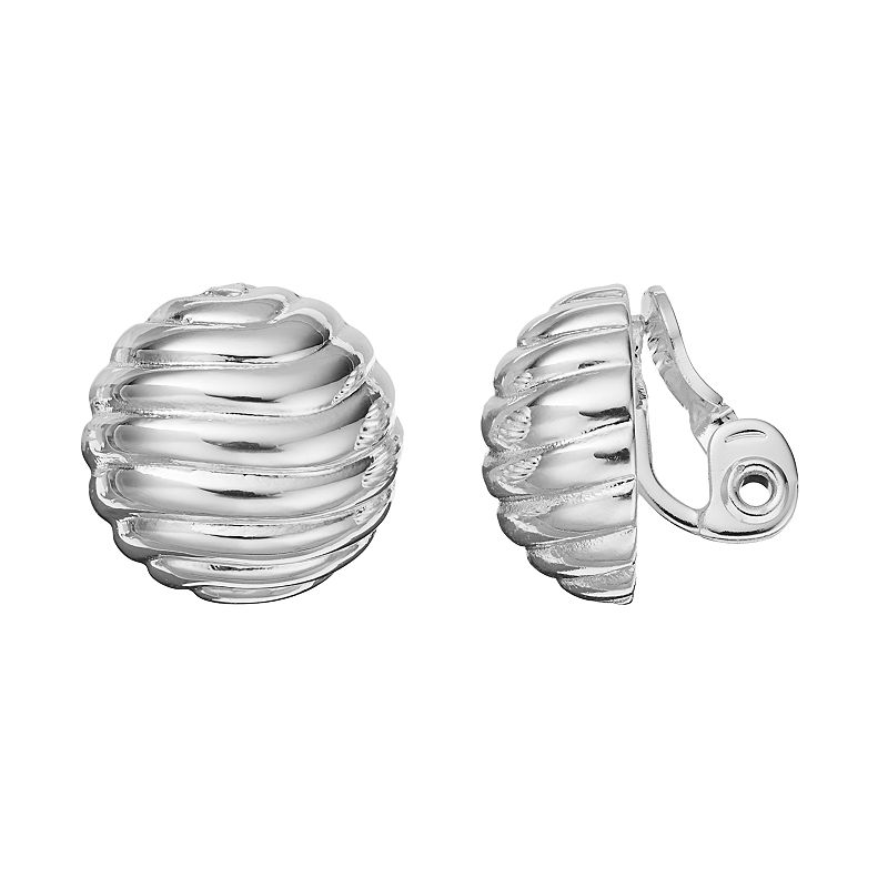Napier Ribbed Dome Clip On Earrings