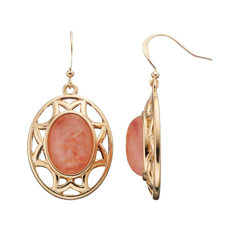 Peach Oval Cabochon Openwork Drop Earrings