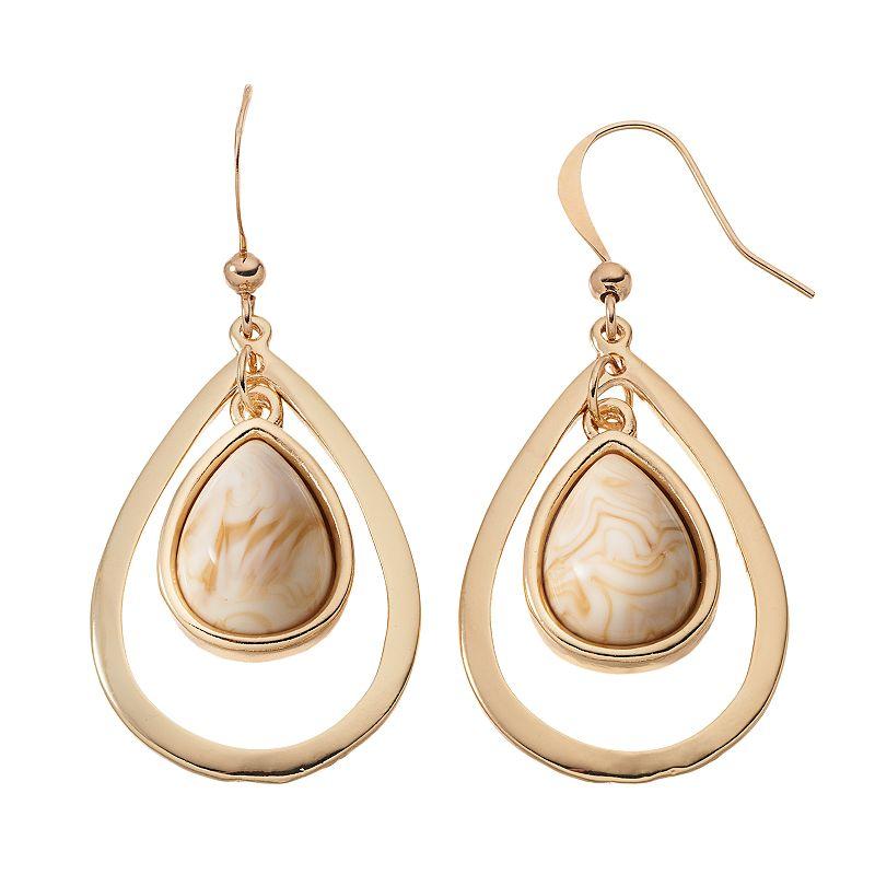Cabochon Teardrop Earrings