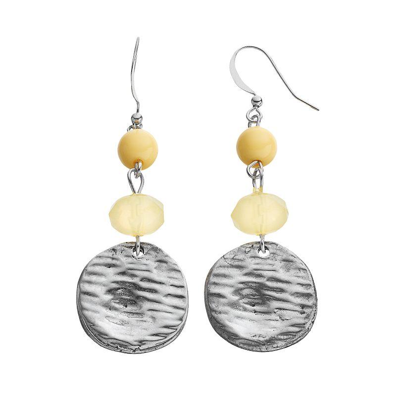 Bead & Disc Drop Earrings