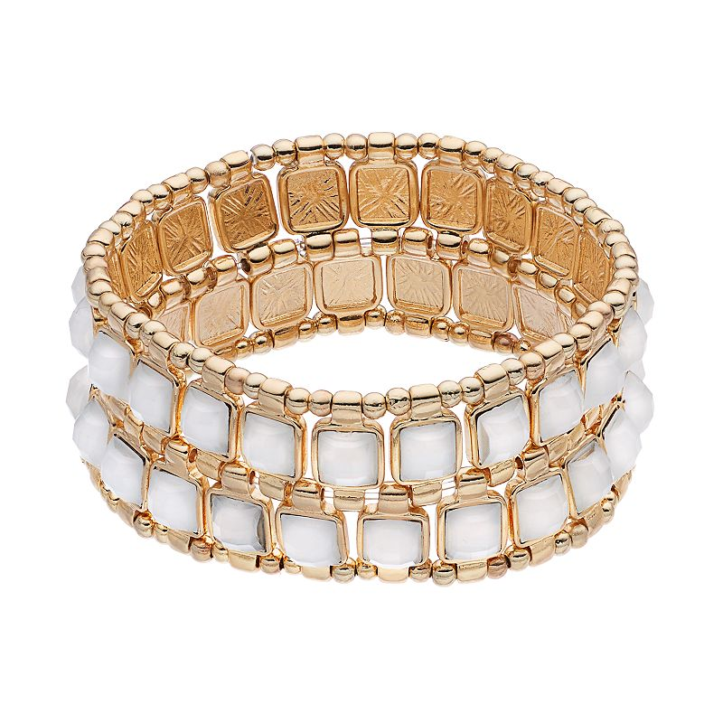 Apt. 9® White Square Multi Row Stretch Bracelet