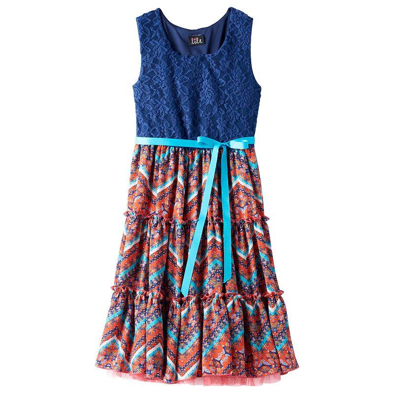 Girls 7-16 & Plus Size lilt Lace Tiered Dress