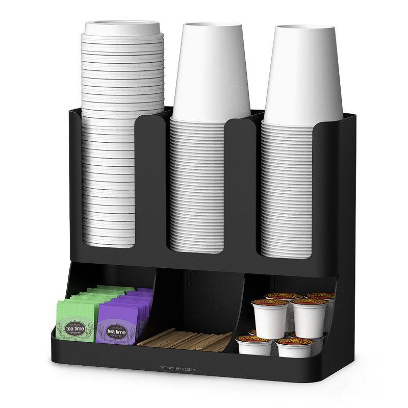 Mind Reader Flume 6 Compartment Upright Coffee Condiment & Cups Organizer