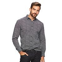Men's Marc Anthony Slim-Fit Patterned Stretch Button-Down Shirt