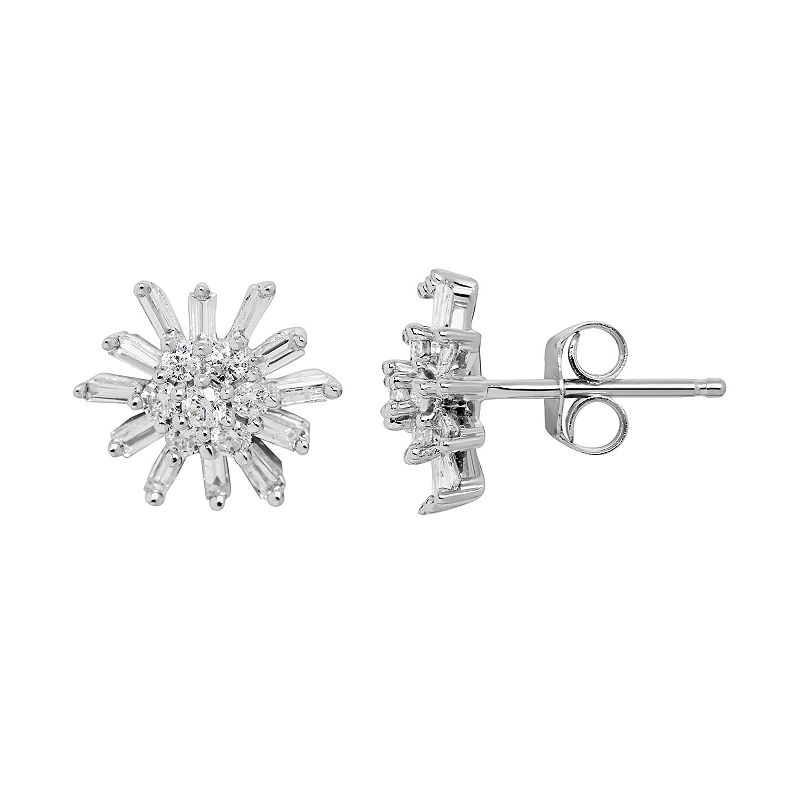 10k White Gold 1/2 Carat T.W. Diamond Starburst Stud Earrings