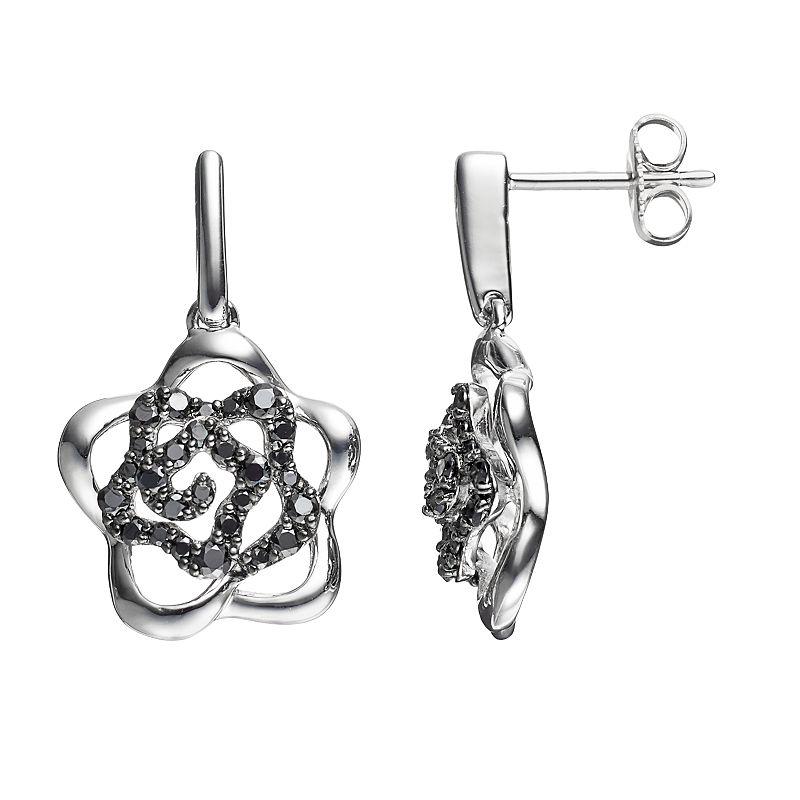 Lotopia Black Cubic Zirconia Sterling Silver Flower Earrings