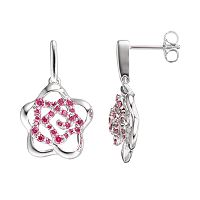 Lotopia Red Cubic Zirconia Sterling Silver Flower Earrings