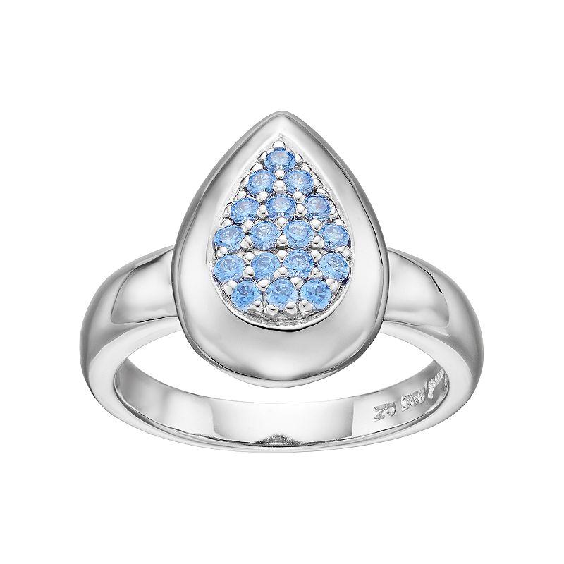 Lotopia Blue Cubic Zirconia Sterling Silver Teardrop Ring