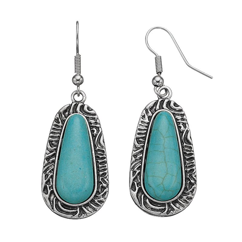 Apt. 9® Simulated Turquoise Cabochon Drop Earrings