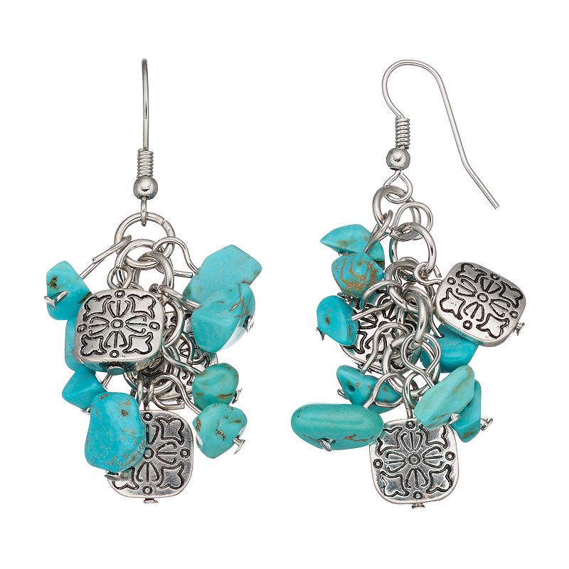 Simulated Turquoise Cluster Drop Earrings