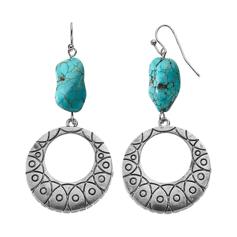 Simulated Turquoise Hoop Drop Earrings