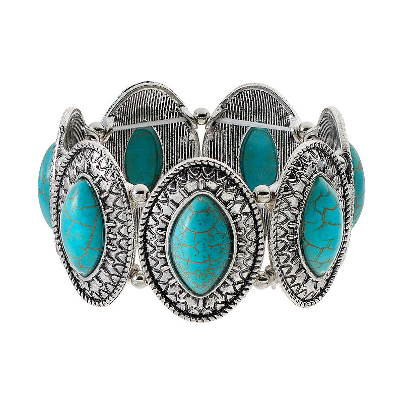 Simulated Turquoise Marquise Cabochon Stretch Bracelet
