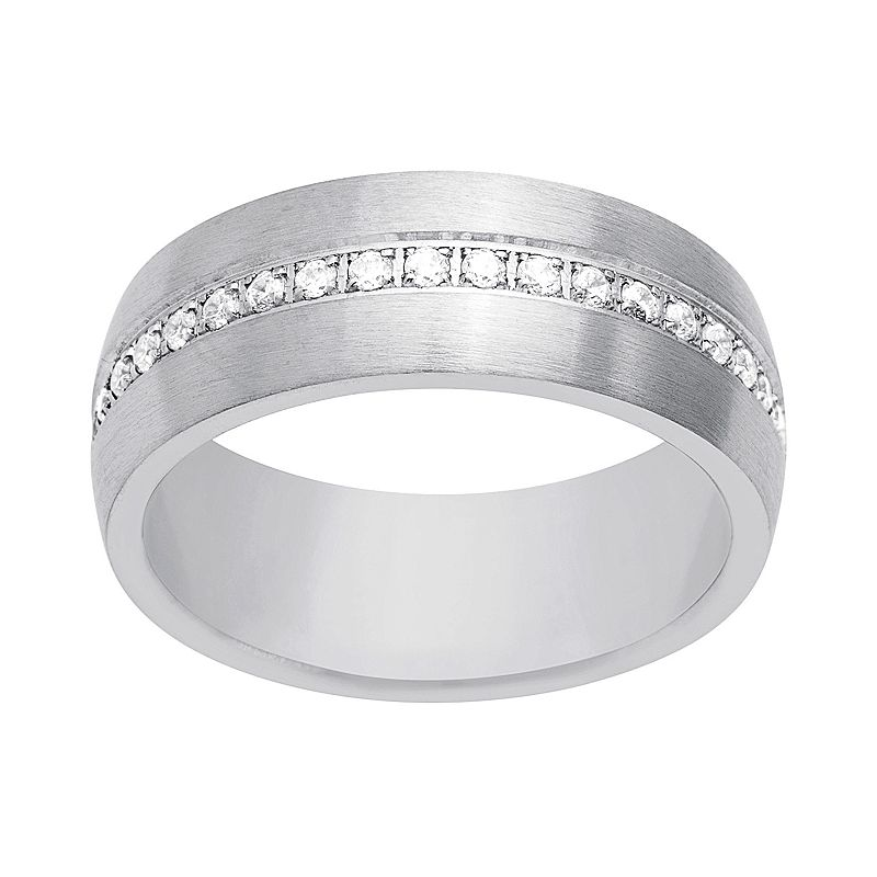 1913 Men's Stainless Steel Cubic Zirconia Ring