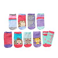 Girls Pink Cookie 9-pk. Lurex Animal Low-Cut Socks