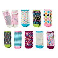 Girls Pink Cookie 9-pk. Print Low-Cut Socks