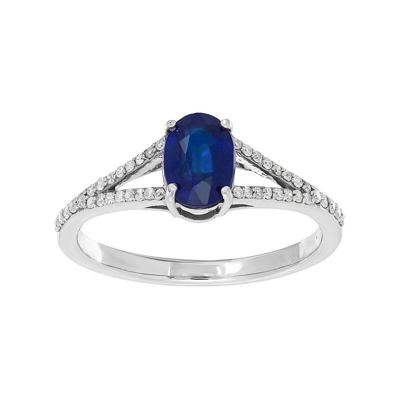 10k White Gold Sapphire & 1/8 Carat T.W. Diamond Ring