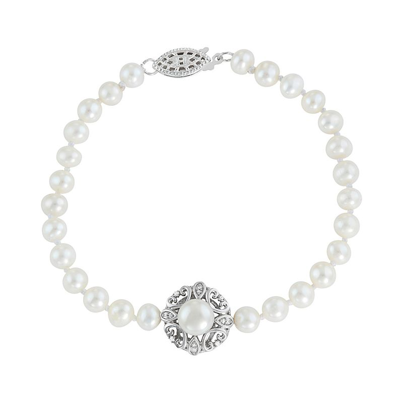 Simply Vera Vera Wang Freshwater Cultured Pearl & Diamond Accent Sterling Silver Bracelet