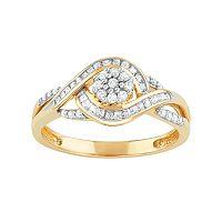 10k Gold 1/3 Carat T.W. Diamond Swirl Flower Ring