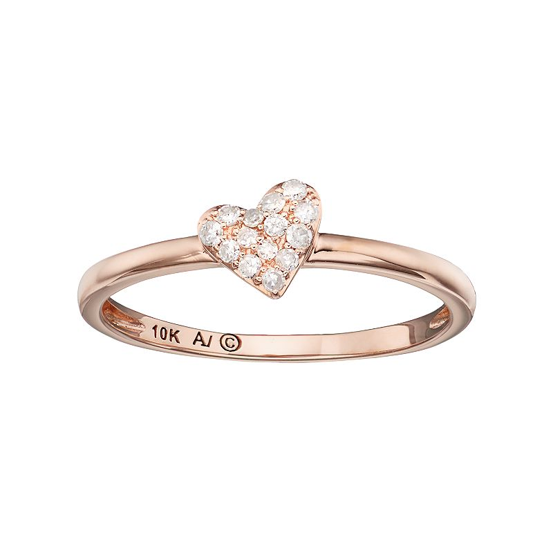 10k Rose Gold 1/10 Carat T.W. Diamond Heart Ring