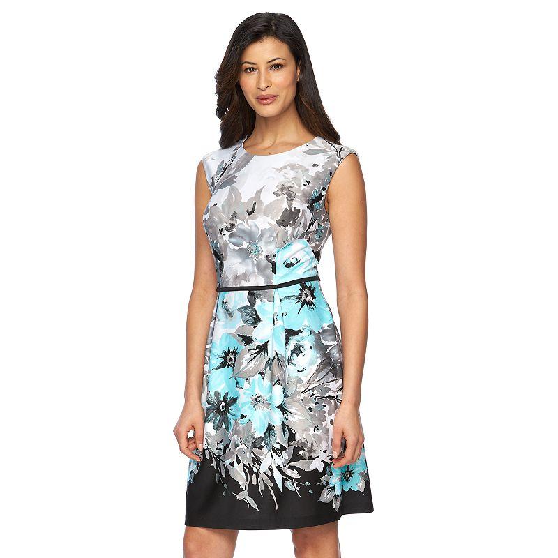 Women's Connected Apparel Floral Scuba Fit & Flare Dress