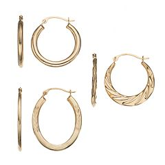 Forever 14K Oval & Textured Hoop Earring Set by