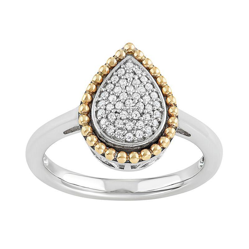Two Tone Sterling Silver 1/5 Carat T.W. Diamond Teardrop Halo Ring