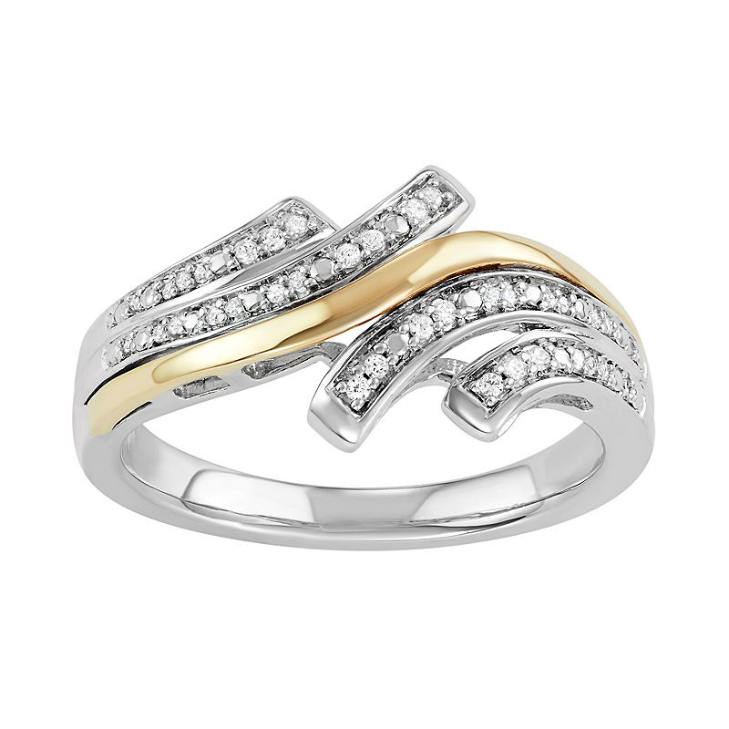 Two Tone Sterling Silver 1/10 Carat T.W. Diamond Bypass Ring