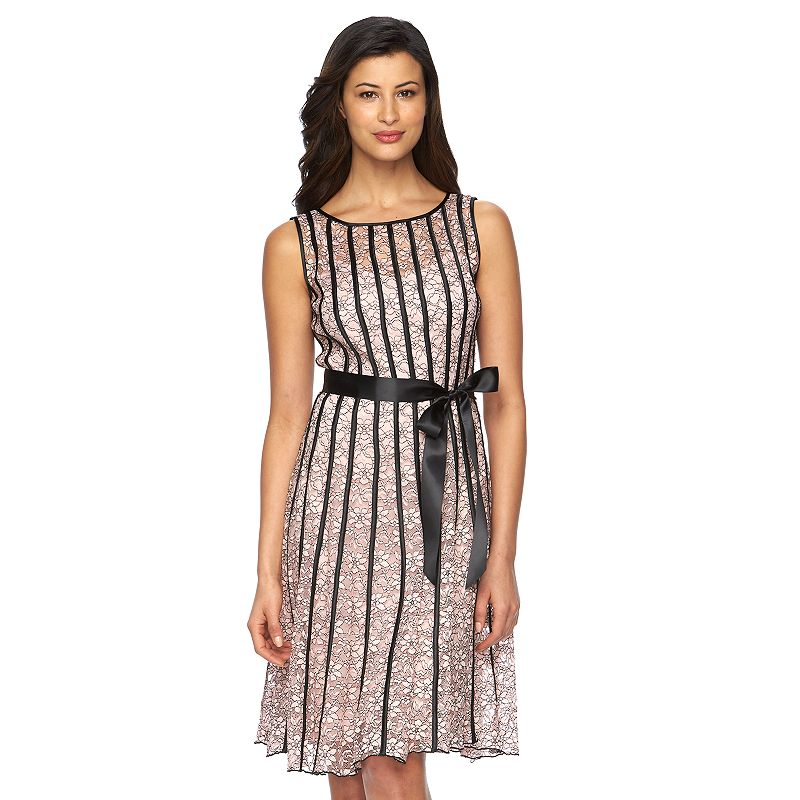 Women's Expo Striped Lace Fit & Flare Dress