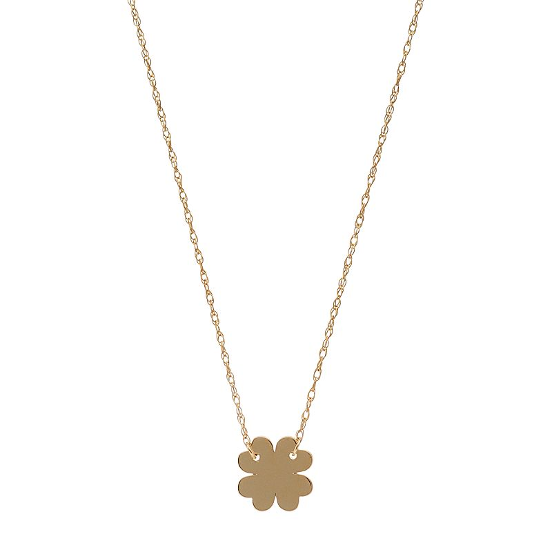 14k Gold Four Leaf Clover Necklace