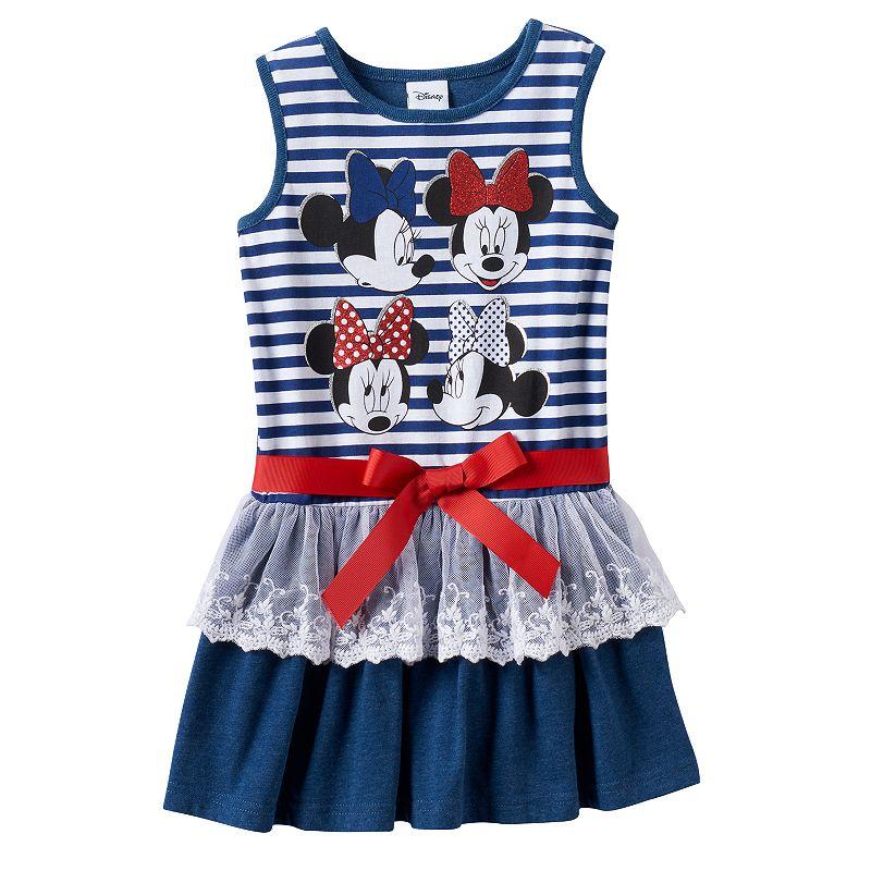 Disney's Minnie Mouse Girls 4-6x Striped Glitter Lace Dress
