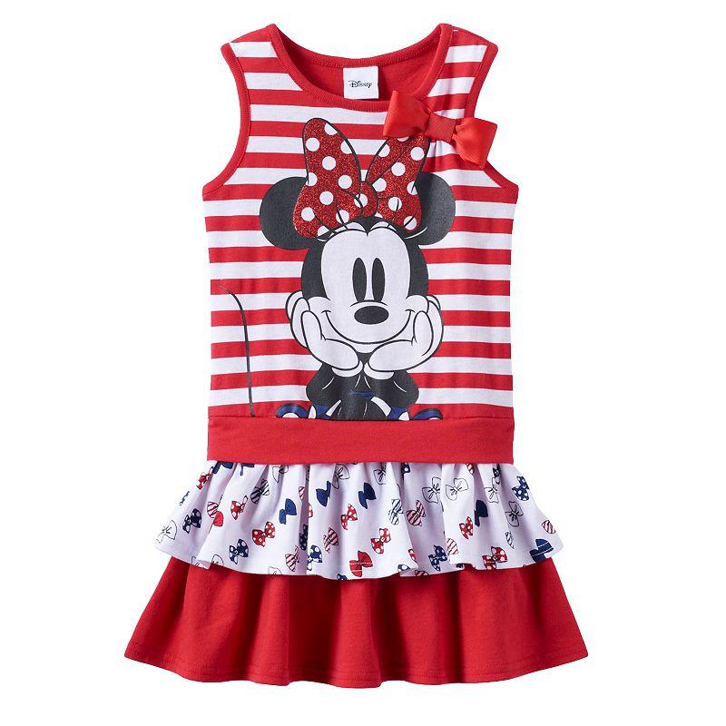 Disney's Minnie Mouse Girls 4-6x Striped Tiered Dress