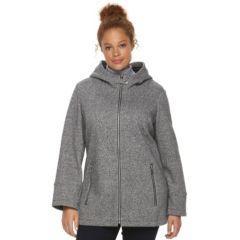 Plus Size Croft & Barrow® Fleece Hooded Knit Jacket