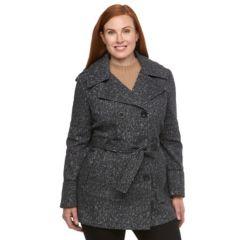 Plus Size Croft & Barrow® Fleece Hooded Peacoat