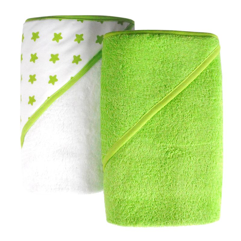 giggle Baby 2-pk. Print & Solid Hooded Towel