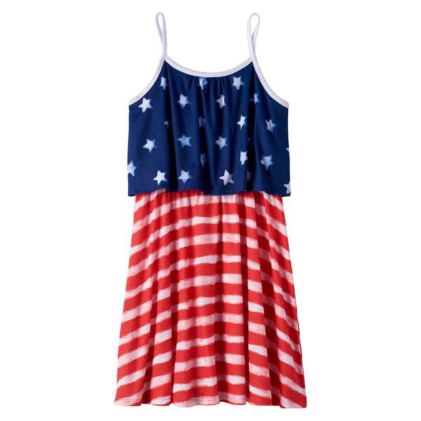 Girls 7-16 & Plus Size SO® Patriotic Mock-Layer Dress