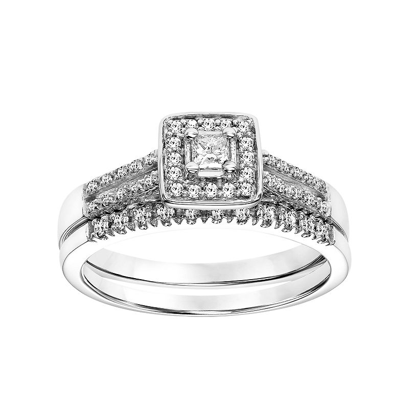 Simply Vera Vera Wang 14k White Gold 1/3 Carat T.W. Certified Diamond Square Halo Engagement Ring Set